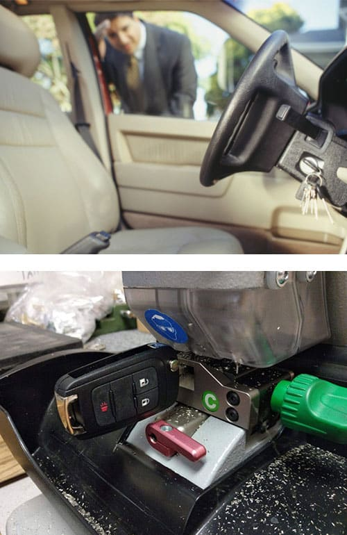 image of a man looking at his keys locked in his car (top) and a new car key being cut on our professional equipment (bottom)