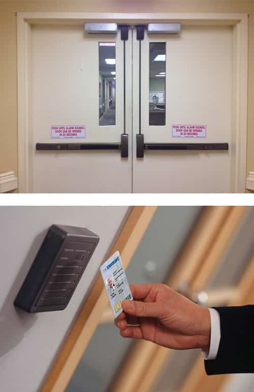 image of a set of commercial doors with automatic closers and panic bars (top), and a key card reader in an office building