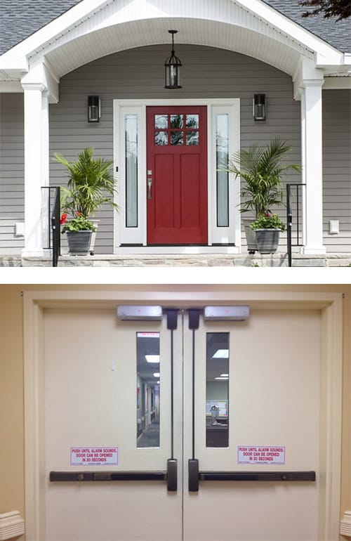 Image of a residential front door (top) and a commercial double door with automatic door closers and push bars to open the doors