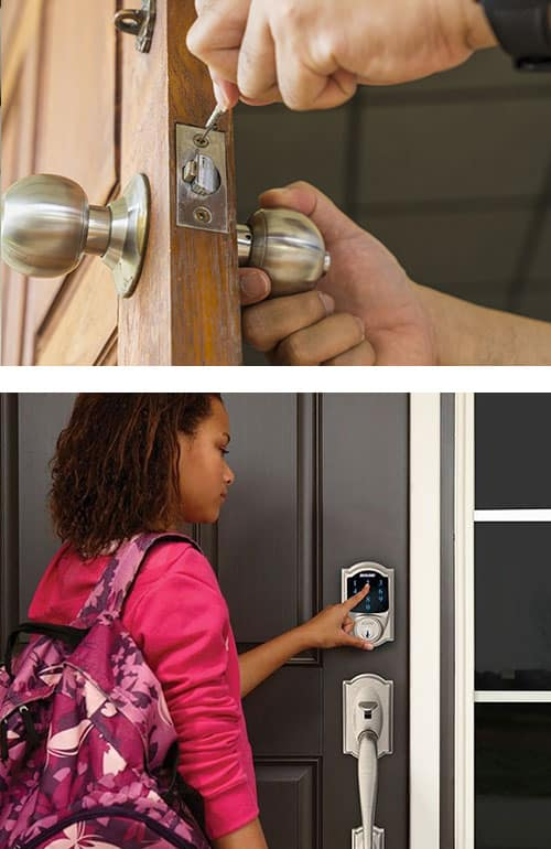 image of a residential door lock being replaced (and) and a young woman using a Schlage Smart Lock on her home's front door (bottom)